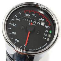 Wholesale Universal Motorcycle LED Dual Odometer Speedometer Gauge KMH