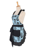 aprons wholesale - Cotton Retro Kitchen Apron Woman Flirty Aqua Damask Ruffled Chef Floral Cooking Aprons