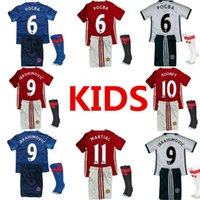 Wholesale 2016 A quality lowest MancHESTER children Kids Kit Jerseys plus socks Third unITED White IBRAHIMOVIC POGBA Rooney Youth Soccer Jer