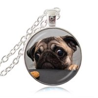 best friends photo - Puppy Dog Jewelry Pug Necklace English Bulldog Pendant Glass Dome Time Gem Photo Choker Best Friends Jewelry Gift for Animal Lover