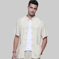 art blouse - cotton male short sleeve tang suit chinese style Tops shirt bamboo cotton kung fu Blouses Color S XXL