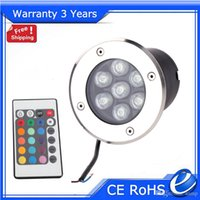 Wholesale 7W Remote LED Underground Light RGB Buried Lamp Lights Outdoor Floodlight RGB Color Change Wall Washer Warranty Years