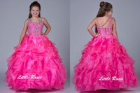 Cheap Little Girls Pageant Dresses One Shoulder New Hot Selling Crystal Beads Organza Formal Party Dress For Teens Kids Flowers Girls Gowns