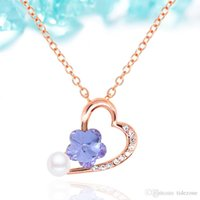 Cheap 2016 Contracted joker fashionable elegant sweet and lovely Brief paragraph love pearl diamond pattern crystal necklace