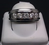 band collection - 14K White Gold Men s Band With CT Round Diamonds Wedding Collection