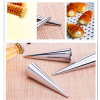 Wholesale 6Sets Cream Horn Cases Forms Pastry Tube Roll Danish Tools Baking Mold For Cakes Brandy Snaps Dessert