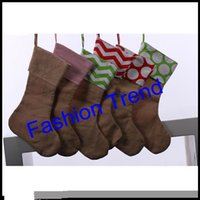 Wholesale 10pcs burlap canvas Christmas stocking monogram chevron good quality Christmas gift bag stocking inch