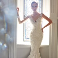 Wholesale 2017 stunning Fishtail wedding dresses French sexy lace fish tail wedding dress a shoulder Halter mermaid trumpet Korean bride wedding