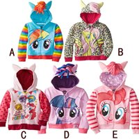 Wholesale my little pony Cute Baby Girls Leopard Cartoon Hooded Outerwear Girl Spring Coats Kids Polka Dot Striped Cotton Jacket