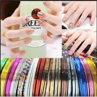 Wholesale Fashion Mixed Colors Nail Art Decorations Nail Sticker Striping Tape Line High Quality Stickers Manicure Stickers for Nails m roll