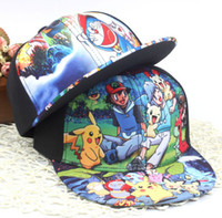 Wholesale Poke Snapbacks Pokeman Caps Poke Monster Cosplay Cap Doraemon Baseball cap Poke Go Caps for Kids Ball caps Doraemon Snapback Caps D647