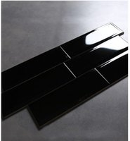 ceramic wall tile - 100x300 quot x12 quot Gloss Bevelled end Black Solid Color Glazed Ceramic Wall tiles for kitchen and Bathplace balcony commercial space