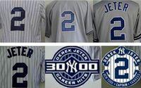 achat en gros de patch broderie femme-Hommes Femmes Enfants 2 Derek Jeter Baseball Jersey Broderie Logos W / 3000 Résultats Patch Vintage taille jersey supplémentaires petits XS S - 4xl