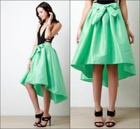 achat en gros de jupe de taffetas vert-Hi-lo Vintage Tafetta Filles Jupes Vert Couleur Jupes Mode pour les filles Custom Made Ceintures papillon Pleats Empire Jupes New Arrival