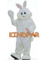 Wholesale Deluxe Plush Easter Bunny Adult Mascot Costume Rabbit Hare Fancy Dress Cartoon Outfit Suit Free Ship