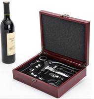 wine opener set - New Wine bottle opener set Wine Opener Gift Set Fancy Round Leather Box Wine Kits Set Wine Accessories Set