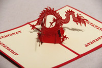 Wholesale Hot hot style High quality specialty paper paper carving card creative d happy Chinese dragon card greeting CARDS