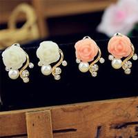 Wholesale Fashion Women Crystal Rhinestone Pearl Earrings Rose Pink Flower Drop Earrings Mujer