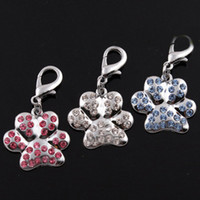 Wholesale shiny rhinestone dog paw style dog pendant for dogs collar pet dog tags three color is available