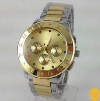 al por mayor ver para los hombres '-La marca de fábrica famosa de la nueva voga 2016 mira los relojes de oro ocasionales Freeshipping del oro del acero inoxidable de la manera del diseñador de las mujeres de los hombres