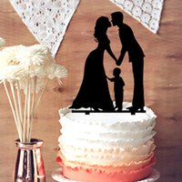 Wholesale Wedding Cake Topper Silhouette Groom and Bride with Little Boy Family Cake Topper The Anniversary Day Cake Topper