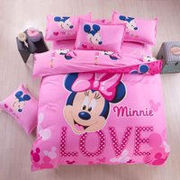 Wholesale Home Textile Lovely Cartoon Mickey Minnie Mouse Bedding Set for Adult Kids Bed Linen Include Quilt Cover Sheet Pillowcases