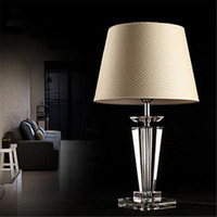 bedside table lamp shades - Hot Items Discount Modern Concise K9 Crystal Table Lamp Flax Shade Living Room Hotel Bedroom Bedside Lamp