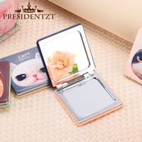 Wholesale New Korea Cute mini Hand Mirror Aluminum Tin plate Cosmetic Compact Makeup Mirror Cartoon Romantic Childlike Wedding Gift side high quality