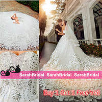 Wholesale 2016 Beach Wedding Dresses with D Flowers Petal Chapel Long Train Sweetheart Corset Bridal Gowns Real Photo Images Luxury Rhinestone Wear