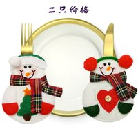 Wholesale Christmas Decoration Kitchen Cutlery Suit Silveware Holders Porckets Knifes Folks Bag Snowman Shaped Christmas Party Decoration Supplies