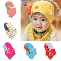 baby bib crochet pattern - 2Pcs Sets Spring Winter Baby Boys Girls Patchwork Pattern Soft Cotton Hedging Hat Cap Triangle Bibs Saliva Towel