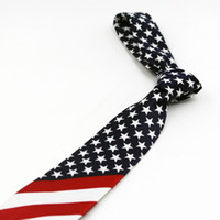 Wholesale 100pc new American flag tie Star geometric stripes necktie Fashionable and novel personality tie Performance tie