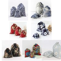 Wholesale Chinese Style Printed cloth cotton linen drawstring bag canvas bags storage bags laundry favor holder fashion jewelry pouches gift bags