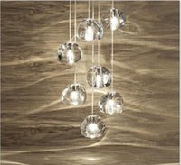 base art deco - Modern clear gold crystal glass sphere ball chandelier g4 mizu head pendant lamp Meteor Rain ceiling light stainless steel base