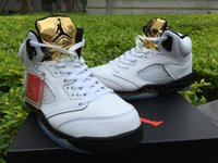 Wholesale Air Jordan Retro Olympic Gold Metallic Gold Jordans Retros s Olympic Gold Olympic White Black Gold With Box