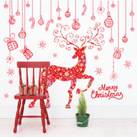 Wholesale FAST DELIVERY Merry Christmas and santa elk DIY decorative wall sticker removable self adhesive pieces set CM pc set opp bag packing