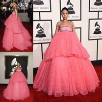 beautiful modest - Ball Gown Celebrite Dress Quinceanera Dresses Water Melon Floor Length Tiered Skirt Strapless Neck Pearls Beautiful Cheap Price Modest