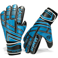Wholesale Soccer goalie gloves Blue full latex All size goalkeeper hand Quality football game goaltender New finger protection