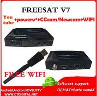 Wholesale fta receiver Freesat V7 hd wifi adaptor DVB S2 Support Cccam newcamd powervu youtube Satellite Receiver freesat v7 wifi