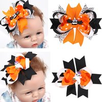 Wholesale 10PCS Cute Baby Halloween Hair Clips Inch Ribbon Bows with Clips for Girls Boutique Bow Barrette Children s Cartoon Hair Accessories