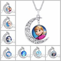 Wholesale Fashion Glass Moon Statement Necklace Vintage Silver Plated Jewelry Frozen Charm Pandent Necklace for Women Men