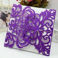 Wholesale 2016 Vintage Elaborate Flower Lace Elegant Classic Wedding Invitations Card Printable and Customizable