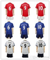 Wholesale 16 Top Quality Kids Soccer Uniforms Manchester Youth Soccer Jersey ROONEY IBRAHIMOVIC Pogba etc football Kit