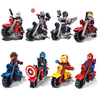 Wholesale Marvel Super Heroes Avengers Captain America Spider Man Batman Ghost Rider With Motorcycle Building Block Set Toys bricks SX901