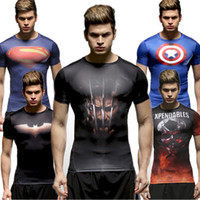 Wholesale Movie Character Printing Men s Compression T Shirts Base Layer Tights For Workout Quick Dry Breathable Shirts