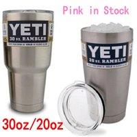 steel water bottles - Pink Yeti Coolers Cup Bilayer Stainless Steel YETI Rambler Tumbler Car Beer Mug oz oz Insulation Cups Large Capacity Water Bottle