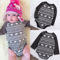 bears player - hot sale baby rompers Newborn kids Boys Girls Bears Bodysuit game player animal printed long sleeve Jumpsuit Outfit Christmas Clothes