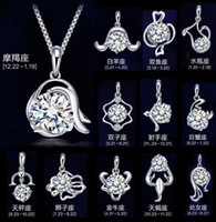 Wholesale 2016 Women The Signs of the Zodiac Pendant sterling silver princess crown necklaces Jewelry gemstone Pendant Sterling Silver Jewelry