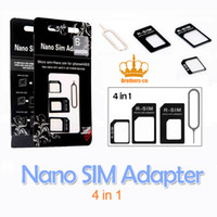 Wholesale 4 in Nano SIM Micro SIM SIM Card Adapters for iphone G for iphone plus with retail package
