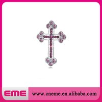 amethyst brooch silver - 100pcs mm Silver Tone Amethyst Purple Colored Rhinestones Holy Cross Brooch Pin